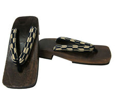 Japanese Men's Samurai Yukata Kimono Wooden Geta Sandals, Yaban Stripes Pattern