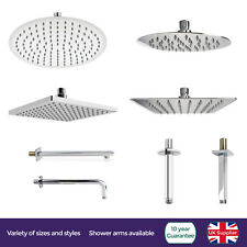 ROUND SQUARE OVERHEAD SWIVEL RAIN SHOWER  + SOLID BRASS CEILING WALL MOUNTED ARM