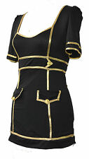 AIR HOSTESS FLIGHT ATTENDANT BLACK & GOLD FANCY DRESS COSTUME UK 10-12 MILE HIGH