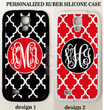PERSONALIZED BLACK RED TRELLIS MONOGRAM CASE COVER For Samsung Galaxy S7 S6 Note