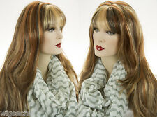 Long Straight Layered Waves Center Skin Part Classic Wigs with Bangs