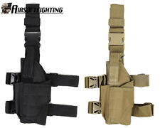 2Color Military Tactical Pistol Drop Leg Holster Bag Pouch for Left Hand Black A