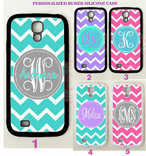 Personalized PINK TEAL CHEVRON MONOGRAM Case For Samsung Galaxy S7 S6 NOTE 5 4 3