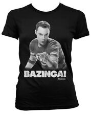 T-shirt Big Bang Theory Sheldon Bazinga black maglia donna ufficiale by Hybris