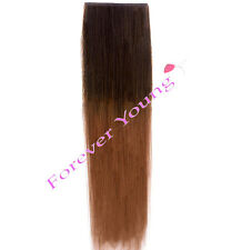 Clip-in Dip Dye Ombre Remy Human Hair Extensions Medium Brown to Auburn