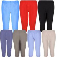 Ladies Plus Size Calf Length Cropped Capri  Stretch Waist¾ Pants Shorts 12-24