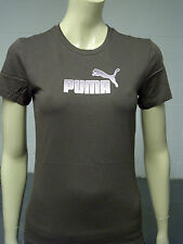 Womens Puma T-Shirt Top Brown - Pink Print Size 10 - 12 A43