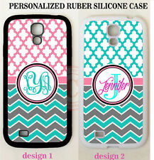 PINK TEAL TRELLIS GREY CHEVRON MONOGRAM Case For Samsung Galaxy S6 S7 NOTE 5 4 3