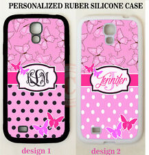 PINK BUTTERFLY BLACK POLKA DOT MONOGRAM CASE For Samsung Galaxy S6 S7 NOTE 5 4 3