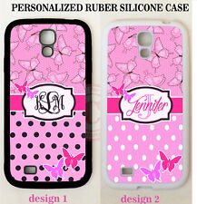 PINK BUTTERFLY BLACK POLKA DOT MONOGRAM CASE For Samsung Galaxy S7 S6 NOTE 5 4 3
