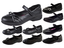 Kids Girls Flat Black School Shoes Faux Leather Mary Jane Star Hearts Bows Size