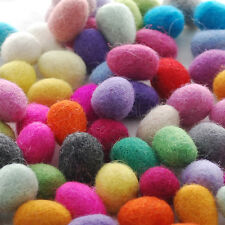 100% Wool Felt Eggs - Hand Felted Mini Eggs - 10 Count - Approx 18mm x 28mm