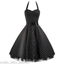 3 PRETTY KITTY ROCKABILLY 50s BLACK WHITE POLKA DOT VINTAGE SWING PROM DRESS