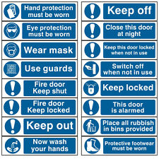 Blue Mandatory Information Self Adhesive Office Workplace Safety Signs -200x50mm