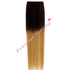 Clip-in Dip Dye Ombre Remy Human Hair Extensions Medium Brown to Golden Blonde