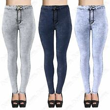 WOMENS LADIES SUPER SKINNY FIT HIGH WAIST ACID WASH DENIM TUBE JEANS SIZE 6-14
