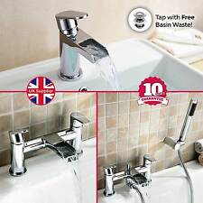 AQUARIUS WATERFALL SINK BASIN MONO BATH FILLER SHOWER MIXER CHROME TAP SET