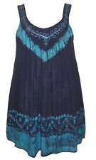 NEW EAONplus Turquoise/Navy Tie-Dye Embroidered Batik Tunic Sizes UK 14 to 34