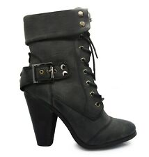 WOMENS MILITARY LADIES COMBAT ARMY BIKER LACE UP HIGH HEEL FLAT BOOTS SIZE F-85