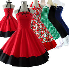 Vintage Tea Dress Dancing Party Rockabilly Swing Jive Polka 50s 60s Skirt Cotton