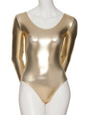 Ladies Girls Long Sleeve All Colours Metallic Leotard Dance Fancy Dress KDC029