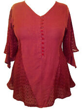 Eaonplus Longline PLUM RED Lace panelled Rayon TunicTop - Size 16 to 34 NEW