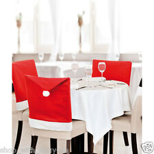 SANTA HAT DINING CHAIR COVERS -  COVER / DINNER TABLE DECORATION CHRISTMAS PARTY