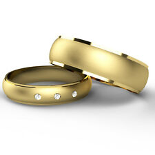 Matching Wedding Rings His And Hers 9ct Yellow Gold Bands Diamond Set & Diamond