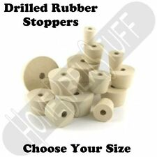 Drilled Rubber Stopper Sizes 00,2,3,5.5,6,6.5,7,7.5,8,8.5,9,9.5,10,10.5,11,11.5