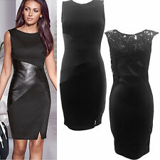 Ladies Women Michelle Celeb PU PVC Wet Look Mini Party Bodycon Sexy Dress