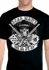 Mens Aces And Eights Dead Mans Hand Cowboy Skull Hanes Beefy T Biker T Shirt