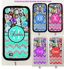 FLORAL SILVER CHEVRON MONOGRAM PHONE Case For Samsung Galaxy S8 S7 S6 NOTE 5 4 3