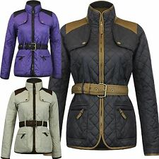 New Ladies Plus Size Padded Qulited Buckle Belted Winter Jackets Coats S-3XL