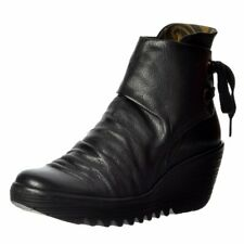 Womens Fly London Yama Pull On Ankle Boot Oiled Suede Low Heel Purple Anthracite