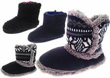 BOYS GIRLS KIDS CHILDRENS XMAS SLIPPERS BOOTS BOOTIES FAIRISLE / FLEECE SIZE 9-3