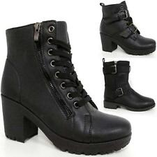 Ladies Mid Block Heels Biker Boots Womens Army Chunky Ankle Winter Shoes Size