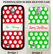 CHRISTMAS RED GREEN POLKA DOTS MONOGRAM Case For Samsung Galaxy S7 S6 NOTE 5 4 3