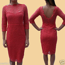 NEXT Premium Coral Vintage Inspired Lace Cocktail Party Bodycon Wiggle Dress