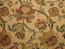 Jacobean Garden Gold Woven Jacquard Curtain Upholstery Cushions Designer Fabric