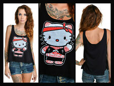 KAWAII Tattooed Punk Rock Hello Kitty Too Fast Loose Fit Cropped Tank Vest
