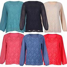 New Ladies Plus Size Chiffon Sheer Long Sleeve Lace Tunic Blouse Tops 16-26