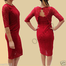 NEXT Premium Red  Vintage Inspired Lace Open Back Bodycon Pencil Cocktail Dress