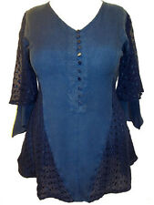 NEW Eaonplus Longline DARK BLUE Lace panelled Rayon Tunic top - Size 16 only