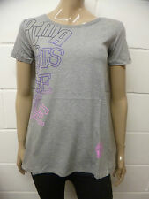 Womens Puma Sample T-Shirt Top Puma Rubber Line Print Grey Size 10 Ladies A43