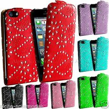 Diamond Leather Flip Holder Case Glitter Cover For Samsung S5 Apple iPhone SE, 4