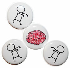 """1"""" (25mm) BUTTON ZOMBIES & BRAINS!!! Button Badge Pins - ZOMBIES & HORROR"""
