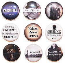 """1"""" (25mm) Sherlock Holmes Button Badge Pin Collection - High Quality -MADE IN UK"""