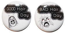 """1"""" (25mm) """"GOOD & BAD Hair Day"""" Button Badges Pins - Funny Gift"""