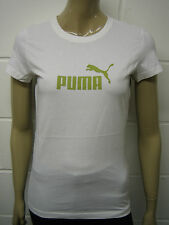 Womens Puma T-Shirt Top White - Green Puma Print Size 10 to 12 Ladies A42