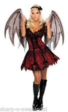 Ladies Sexy Demon Fairy Vampire Halloween Fancy Dress Costume Outfit + XL Wings